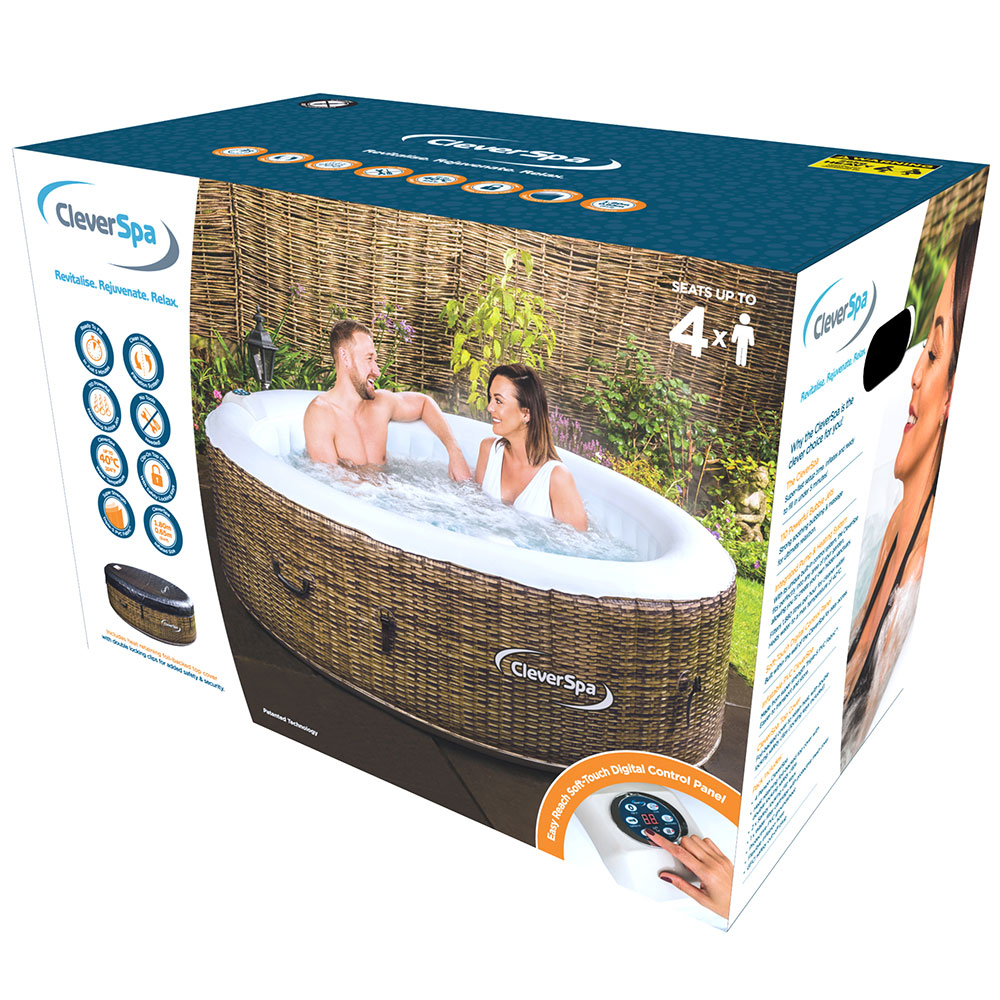 cleverspa borneo inflatable 4 person hot tub cleverspa. Black Bedroom Furniture Sets. Home Design Ideas