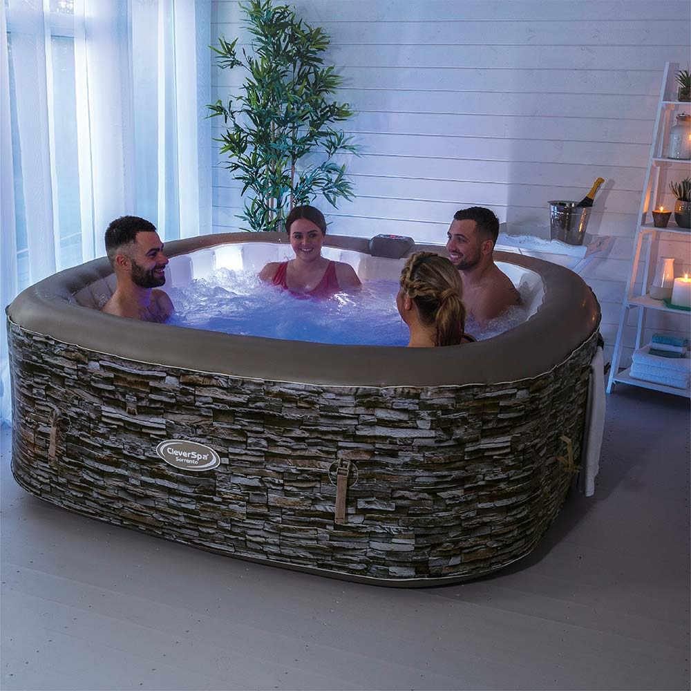 Cleverspa Sorrento 6 Person Inflatable Hot Tub With Led Lights Clever Company
