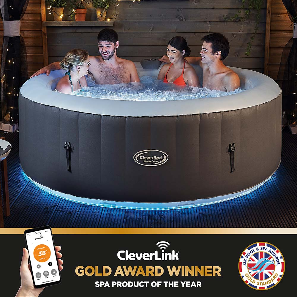Cleverspa Monte Carlo 6 Person Inflatable Hot Tub With Cleverlink App Led Lights Clever Company